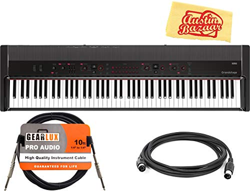 Korg Grandstage 88-Key Digital Stage Piano Bundle with Instrument Cable, Midi Cable, and Austin Bazaar Polishing Cloth
