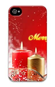 iphone 4S free shipping case Merry Christmas Candles 3D Case for Apple iPhone 4/4S