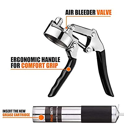 REXBETI Grease Gun, Pistol Grip Grease Gun Set with 18 Inch Flex Hose, Heavy Duty Steel Barrel, 2 Reinforced Coupler Included: Automotive
