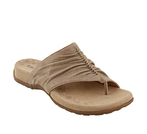 Womens Footwear Flat - Taos Footwear Women's Gift 2 Taupe Printed Leather Sandal 9 M US