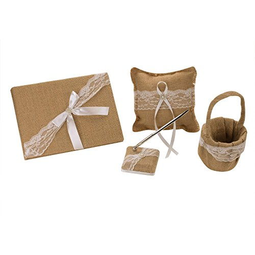 Vlovelife Khaki Rustic Wedding Flower Girl Basket + Guest Book + Pen Set + Ring Pillow Burlap Hessian Set with Lace Petals Ribbon Bow Decor - Set 2