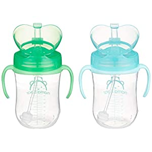 Amazon Brand – Mama Bear Weighted Straw Sippy Cup (Pack of 2)