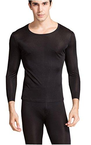 - METWAY Men's Thermal Underwear Set Mulberry Silk Stretch 2pc Long John Underwear Lager Black