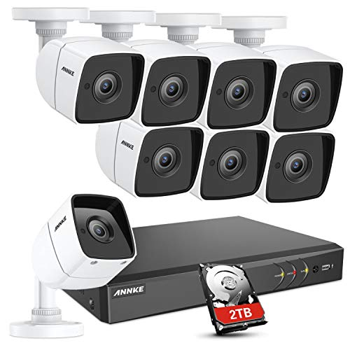 (ANNKE Security CCTV Camera System 8-Channel Ultra HD 4K H.265+ DVR with 2TB Hard Drive and 8×5MP HD IP67 Weatherproof Bullet Cameras, 100ft Night Vision, Email Alert with Snapshots, Remote Access)