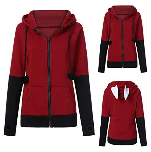 Lining Colorblock Cardigan Sleeve Zipper Wine TUDUZ Ears Sweatshirts Rabbit Jacket Women Coat Autumn Fleece Thicken Long Hooded Hoodie p7nwIqS0
