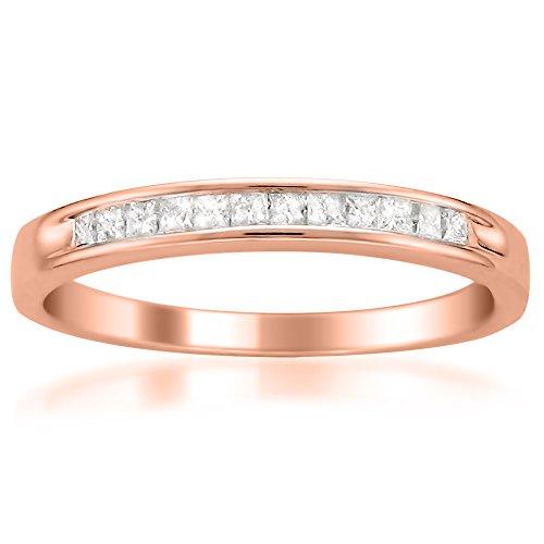 14k Rose Gold Princess-Cut Diamond Wedding Band (1/4cttw, I-J Color, I2-I3 Clarity), Size 4.5 (Band Princess Cut Diamond)