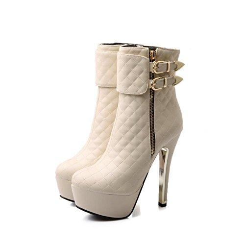 Martin PU mujer Zapatos patrón Stiletto cremallera 4U® Boots Beige Best tacones Round altos rejilla rojo toe 13cm de corto negro wWq41nCxY
