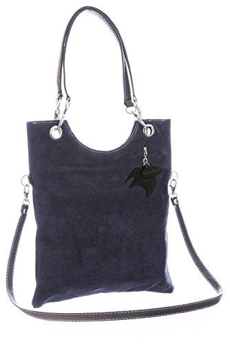 BHBS Bolso de Noche y de Hombro para Dama en Piel Gamuzada italiana Auténtica 28x33 cm (LxA) Azul Marino (NL572)