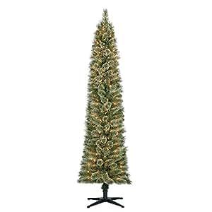 Home Heritage 7' Artificial Stanley Pencil Pine Slim Christmas Tree w/ Lights