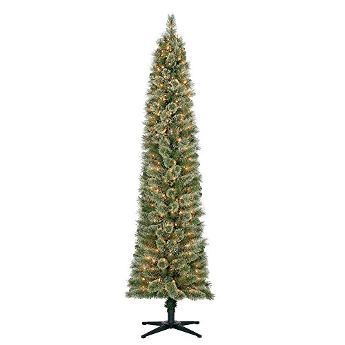 Pine Christmas Trees - Home Heritage Stanley 7' Pencil Artificial Pine Slim Christmas Tree w/ Lights