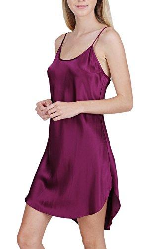 OSCAR ROSSA Women's Luxury Silk Sleepwear 100% Silk Round Neck Shirttail Slip Chemise Babydoll Nightgown Ruby Wine