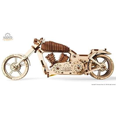 Ugears Vm 02 Motocicletta In Legno Da Costruire Kit Fai Da Te Miniatura Meccanica Funzionante Motore Ad Elastico E Grande Ruota Posteriore Per Appassionati Di Motori Ottima Idea Regalo