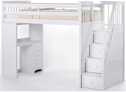 NE Kids School House Stair Loft Bed in White Finish White