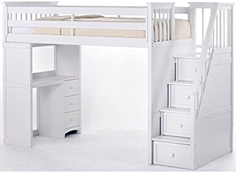 NE Kids School House Stair Loft Bed in White Finish: White
