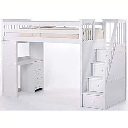 NE Kids School House Stair Loft Bed In White