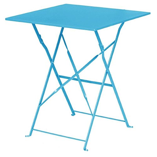 Bolero Seaside Blue Pavement Style Steel Table Square 710x600x600mm Restaurant Nisbets 22013