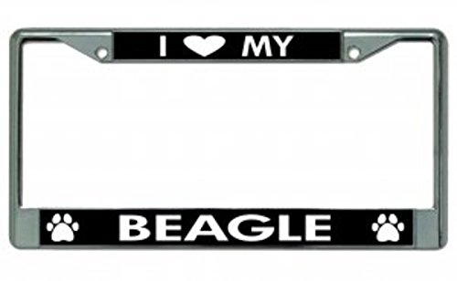 I Love My Beagle Chrome License Plate Frame<br>Heavy-Duty Metal