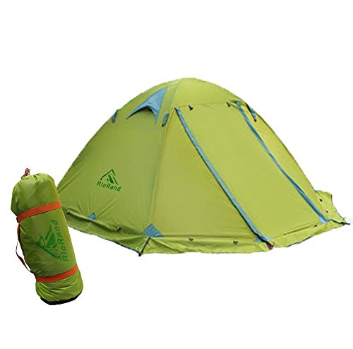 RioRand Double Layer 2 Person Aluminum Rod Outdoor Camping Tent with Top Wind 2 Plus & Snow Skirt, Green