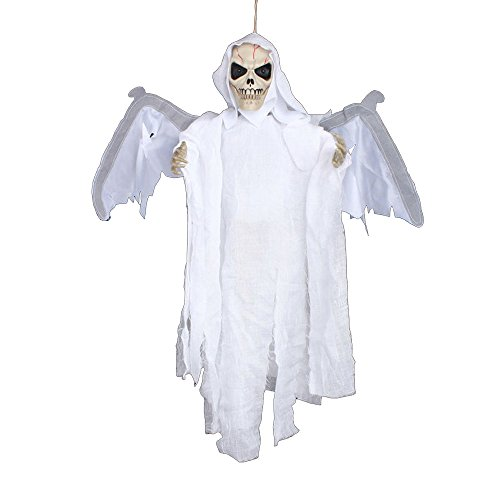 Euone® Sound Control Creepy Scary Animated Skeleton Ghost Halloween Party Decoration (All White Contact Lenses Halloween)