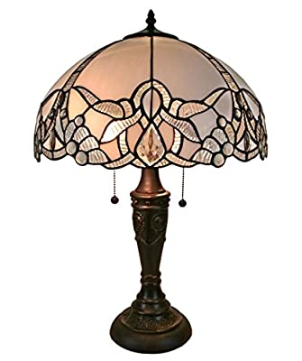 Amora Lighting AM241TL16 Tiffany Style Jeweled White Table Lamp 23 In High