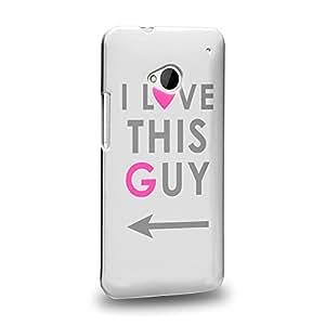 Case88 Premium Designs Art Couple Phone Case Series I Love This Guy Phone Case (Grey) Carcasa/Funda dura para el HTC One M7