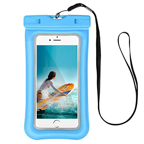 """Universal Waterproof Case Cell Phone Dry Bag Compatible LG G Stylo G4 Stylus 4G LS770 H631 F560K 5.7"""" up to 6.3-inch, Tenplus IPX8 Airbag Floating Waterproof TPU Pouch Reflective Outdoor - Light Blue"""