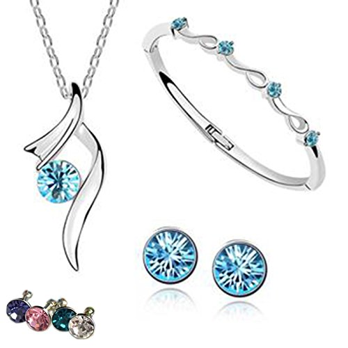[AmaziPro8 Fashion Jewelry Sets – FREE Diamond Anti Dust plug – Fashion jewelry earrings + Fashion Pendant + Fashion Jewelry Necklace - Austria Crystal fashion jewelry for women] (Tiffany Blue Costume Jewelry)
