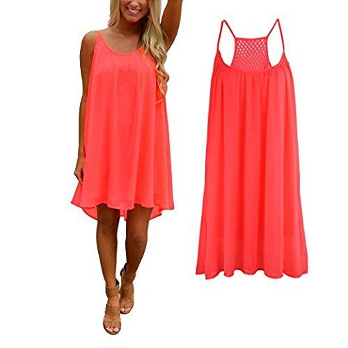 robe Mini fluo soie courte Soire manches Femme Hippolo rouge de Robe en sans XXL mousseline t de Rouge dcontract plage xAOgw6q