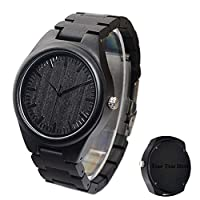 Custom Wood Watch for Men Ebony Wooden Engraved Watch Groomsmen Best Man Gift Father's Day Gift - Free Engraving