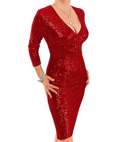 Pailletten Rücken Kleid Reißverschluss voll gefüttert Rot Blue mit Stretchsamt Banana W4cO6qZI
