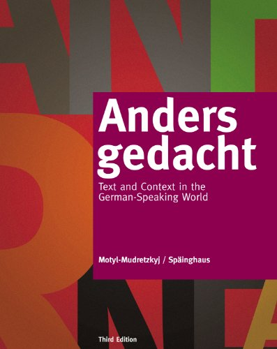 Anders gedacht: Text and Context in the German-Speaking World Pdf