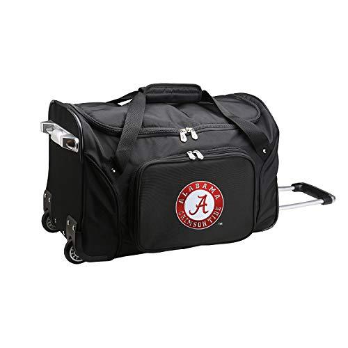 NCAA Alabama Crimson Tide Wheeled Duffle Bag, 22 x 12 x 5.5, Black