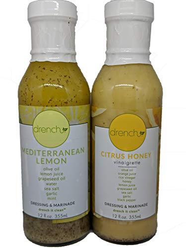Drench Dressing - Clean Natural Salad Dressing and Marinade Combo Pack made with Pure Olive Oil (1) 12oz Mediterranean Lemon & (1) 12oz Citrus ()