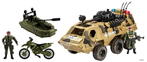 (Memtes Military Fighter Army Truck Tank Toy, Mini Motorcycle, Mini Raft Boat with 2 Mini Army Soldier with Lights and Sound)