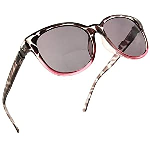 Womens Bifocal Sun Reader Sunglasses Fashion Trendy Readers Reading Glasses [Black/Pink, 2.25]