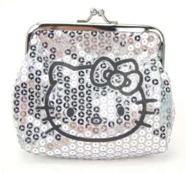 Hello Kitty Silver Sparkle Dazzled Kiss Lock Sequin Coin Wallet Purse