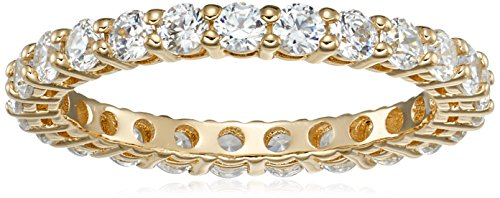 Yellow-Gold-Plated Sterling Silver All-Around Band Ring set with Round Swarovski Zirconia (1 cttw), Size 6