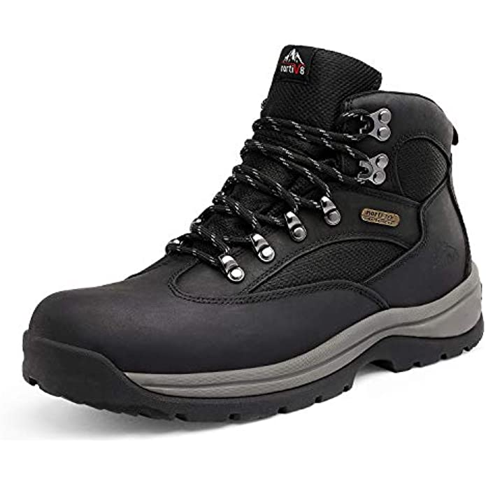 NORTIV 8 Men's Waterproof Hiking Boots Mid Ankle Leather Hiker Boots