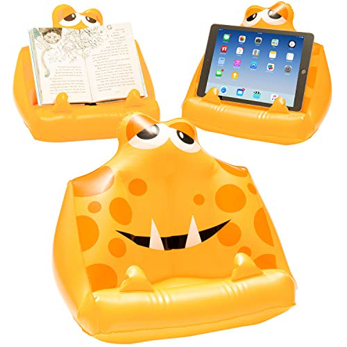 ThinkingGifts Kids Tablet Book Lap Stand, Inflatable iPad Holder. Great Reading Rest for Bed, Travel or Study - Yellow from Thinking Gifts