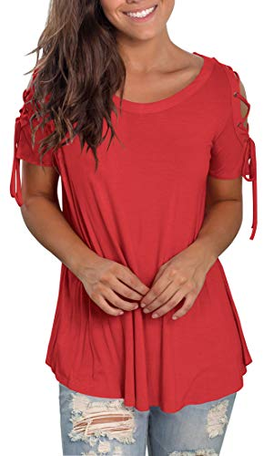 Jescakoo Womens Solid Scoop Neck T Shirts Casual Strappy Tops Cold Shoulder Red L