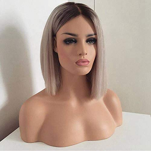Ombre Short Bob Wig Ash Blonde Color, Bob Lace Front Wig Heat Resistant Gray Synthetic Wigs For African American (Heat Resistant Wigs Lace Front)