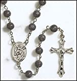St Michael Rosary with Metal Saint Centerpiece and Crucifix