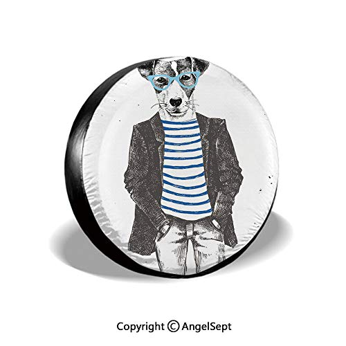 Tire Cover,Dressed Up Hipster Dog with Glasses Hand Drawn Sketchy Fashion Animal,Black White Blue,for Jeep Trailer RV SUV Truck Camper Travel Trailer Accessories,15 Inch
