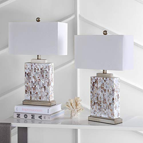 Safavieh Lighting Collection Tory Ivory Shell 25-inch Table Lamp (Set of 2) (Pearl Shade Lamp Of Mother)
