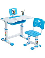 Children Study Desk, Kids Desk and Chair Set, Height Adjustable Table & Chair Drawing Set, Student Writing Desk with Bookstand Drawer, Ergonomic Student Writing Desk for Studying, Reading and Drawing