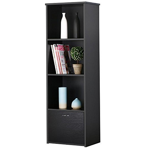 Yaheetech 3 Tier Black Wood Narrow Bookcase with Bottom Storage Chest Freestanding Tall Media Tower/Cabinet