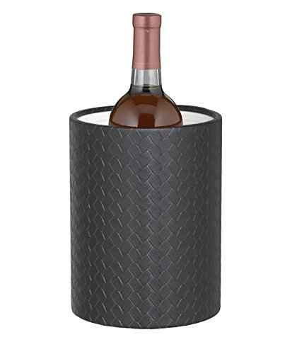 Kraftware Grant Signature Home San Remo Eclipse Tall Ice Bucket Lucite Lid, 2 quart, Black