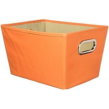 Elegant Honey Can Do Decorative Storage Bin With Chrome Handles, Small, Orange