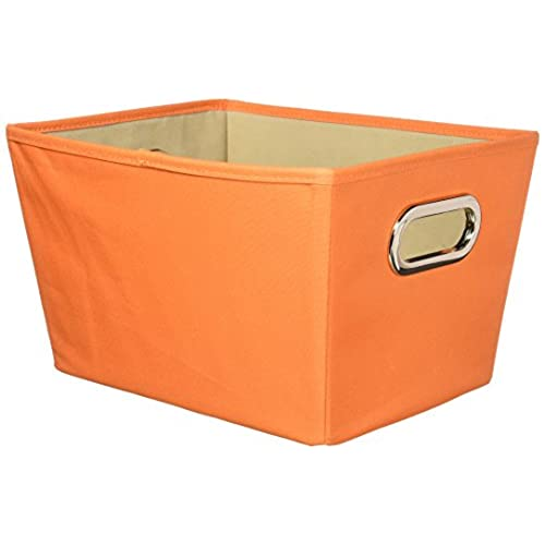 Honey Can Do Decorative Storage Bin With Chrome Handles, Small, Orange