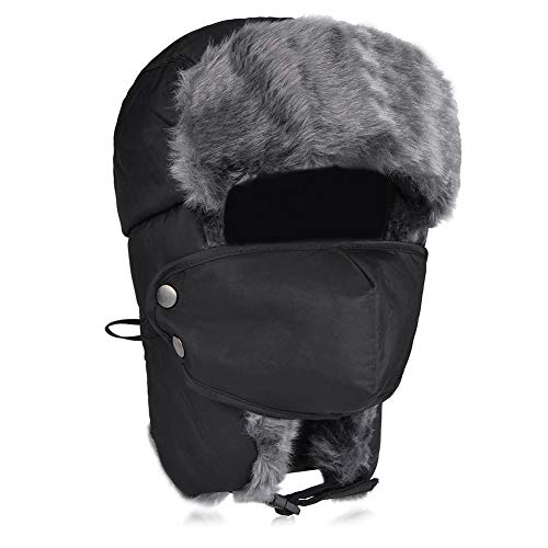 Maylisacc Unisex Winter Trooper Trapper Ear Flap Hat,Faux Fur Ushanka Hunting Ski Hat with Chin Strap and Windproof Mask Trapper for Men and Women Black